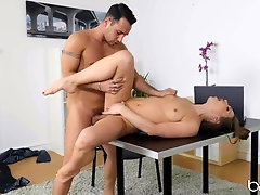 Pretty girl with a ponytail fucked in her bald pussy