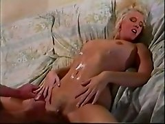 Feverish blondie in yellow socks gets buttfucked on couch