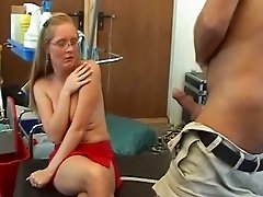 Blond haired shy bitch in glasses sucks cock of older man for the first time