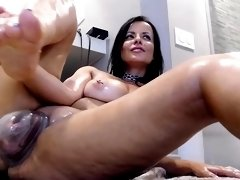 Perky milf plays with her big boobs