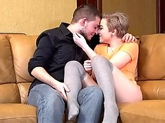 Having fun with a blonde GF on a couch