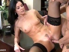 Wearing stockings india summer gets pussy eaten on the table