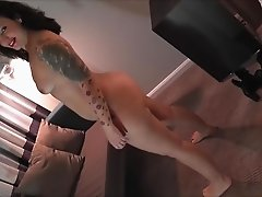 Tattooed Lulu Pretel is excited about a lover's big boner