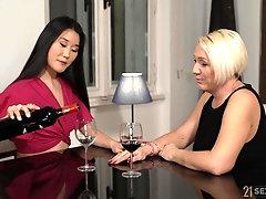 Mature Asian lesbian Katana fingered and licked by Bibi Pink