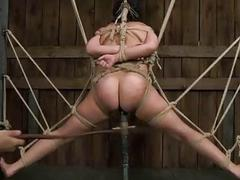 Elise Graves destroyed with a dildo while being bound BDMS