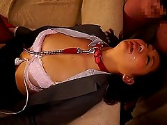 Leashed Japanese cum slut covered in their sticky loads