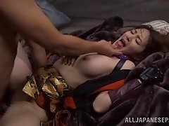 Elegant Japanese babe in leather moaning as she gets drilled doggystyle