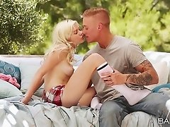 Super cute blonde keeps her socks on while fucking outdoors