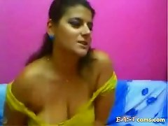 Beautiful Siri Lankan milf with huge natural boobs and plump pussy teases her webcam