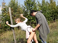 In the wild nature young and kinky couple enjoy hard fuck together