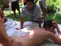 Frat boy sucks cock and gets fucked hard outdoors