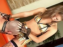 Hot hard BDSM fun for him with cute girl