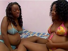 Delicious ebony babes with big boobs drill with dildos
