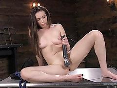 Brunette vixen Casey Calvert ass and pussy fucked by machines