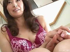 Otowa Ayako wears lingerie while a guy masturbates in front of her