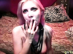 blonde goth girl gives deepthroat messy blowjob