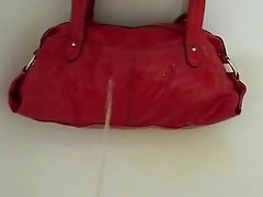 Pee on red handbag