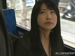 Luscious Japanese MILF gives handjob then pussy rubbed in public