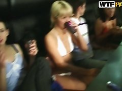 Drunk college slut spins on pole during wild party