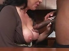 Mature Cougar Alexis Couture Serving Ebony Guy