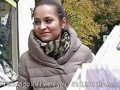 Czech slut Emily flashes tits for cash