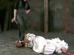 Hot girl gets tied hard and molested in process BDSM