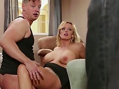 Fuckable blonde chick gets caught cheating by her man