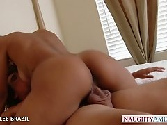 Beautiful Abby Lee Brazil gives blowjob