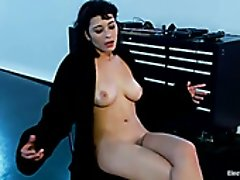 Topless brunette Raven is going to take part in crazy lesbian bdsm scene
