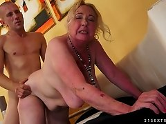 Fat blond granny Sila blows and gets her crotch pounded hard