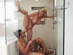 Huge tits mom bangs teens in shower
