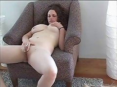 Chubby chick with big tits masturbating and toy fucking her cunt