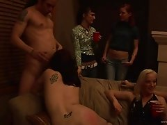 Drunk coeds fucking hardcore in saucy groupsex party
