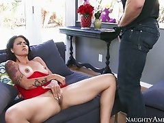 Bitch with tattooed arms gives good blowjob to handsome dude Johnny Castle