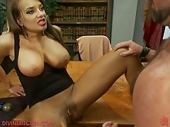 Busty Dominant babe gets her routine done with two guys