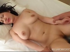Compassionate cowgirl in bra moaning while her shaved pussy is smashed hardcore in close up shoot