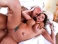 Voluptuous Brooklyn Chase enjoying cock on the sheets.