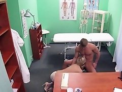Blonde doctor fucks muscled patient