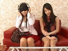 Erotic pussy pounding ffm threesome action with two dynamic Asian hotties