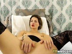 Amateur big ass MILF camgirl masturbating by dildo on webcam