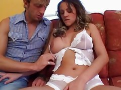Hot Brunette fucks on couch-- German--