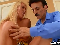 Sexy wife is tired of her old man and makes him watch her fuck a younger guy