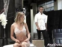 Smalltits babe anally screwed by lover