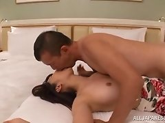 Beautiful Japanese girl with a hairy pussy enjoying a hardcore fuck in her bedroom