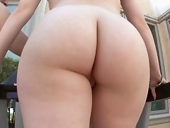 Alluring babes with fake tits in thong moaning while being pounded in close up shoot