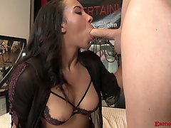 Latina babe Sophia Fiore takes off her underwear and swallows cum