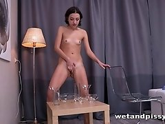 Slender solo model drinking piss after masturbating hardcore