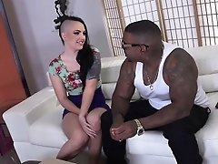 Slutty pale white girl loves trying a black cock