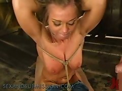 Blonde Slut Hogtied and Fed With Cock