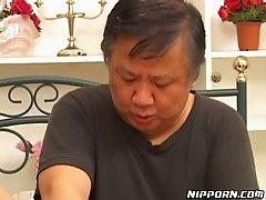 Freaky granny fingerfucks hairy kitty of dirty Asian hooker